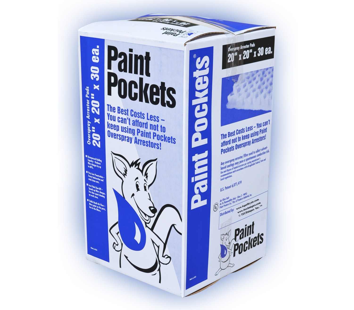 20 x 20 Paint Pockets WHITE Overspray Arrestor  30 / pkg