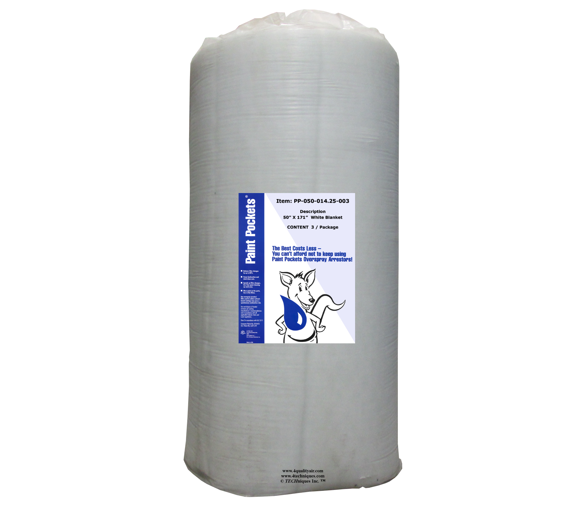 "50"" x 14.25' Paint Pockets WHITE Overspray Arrestor (3 / pkg)"