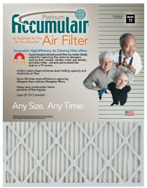 10 x 20 x 4 (9.5 x 19.5 x 3.75 Accumulair Platinum 4-Inch High-Capacity Filter (MERV 11)